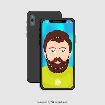 Smartphone with hipster on display