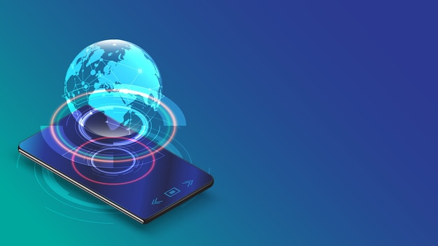 Smartphone with hologram earth digital network connecting concept