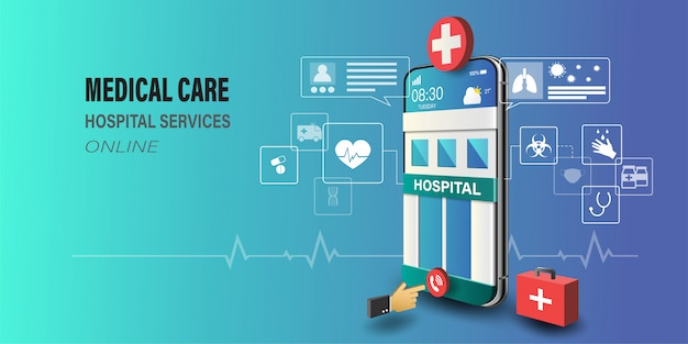 Smartphone with hospital building on screen, doctor consultation online, healthcare technology concept.