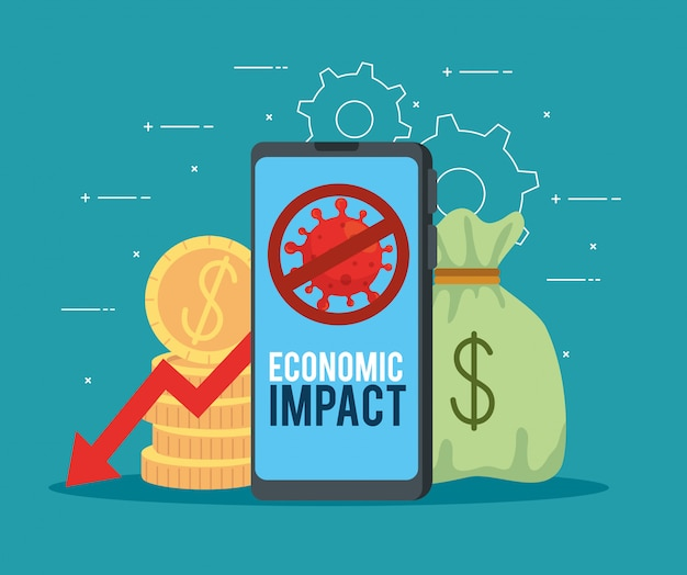 Smartphone with icons of economic impact by covid 2019