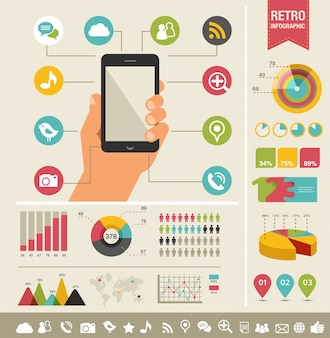 Смартфон с иконками - инфографика и фон веб-сайта