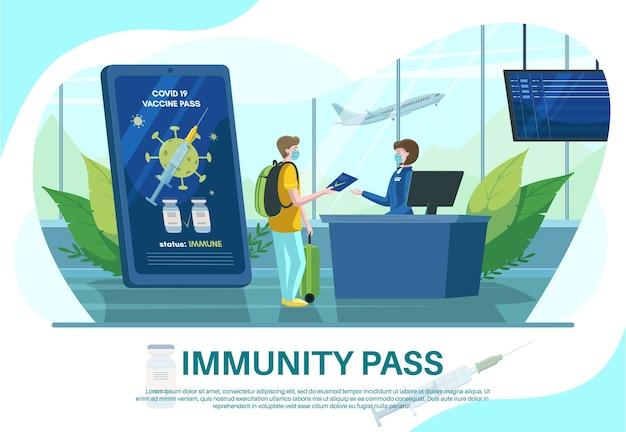 免疫健康パスポート付きスマートフォン。空港のチェックインカウンターでワクチンのパスポートまたは証明書を示す旅行者、フラットなベクターイラスト。イミュニティパスポスターデザインテンプレート。