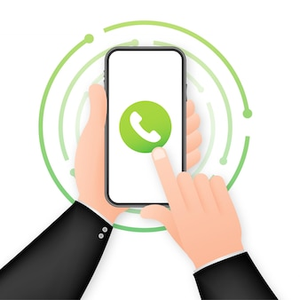 Smartphone with incoming call on display. hand holding smartphone, finger touching screen. vector stock illustration.
