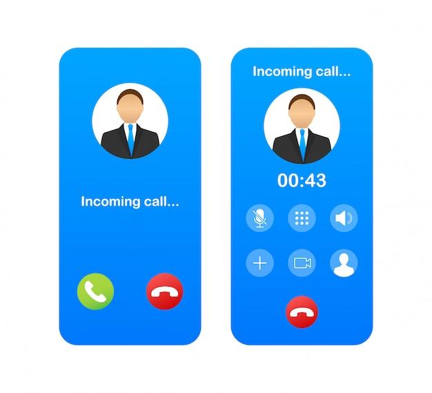 Смартфон с входящим вызовом на дисплее. входящий звонок. иллюстрации.