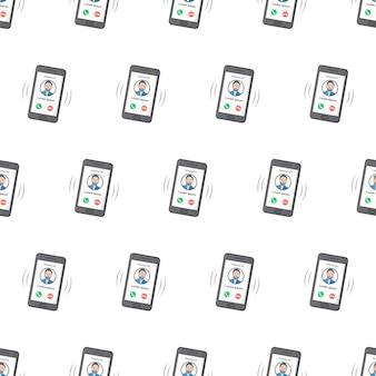 白い背景の着信のシームレスなパターンを持つスマートフォン。電話のテーマのベクトル図