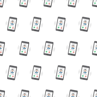 Smartphone with incoming call seamless pattern on a white background. phone call theme vector illustration