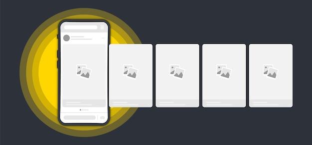 Смартфон с интерфейсом поста карусели в социальной сети. шаблон макета телефона. история в социальных сетях. современная плоская векторная иллюстрация стиля. публикация онлайн-историй, чат с комментариями, баннер с карусельной рекламой