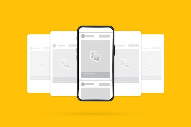 Смартфон с интерфейсом новый макет фоторамки социальной сети. телефон с интерфейсом поста карусели в социальной сети. мобильная страница с интерфейсом поста карусели в социальной сети