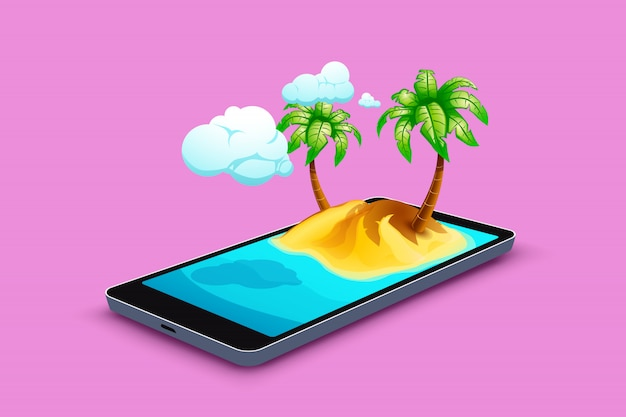 Смартфон с островом