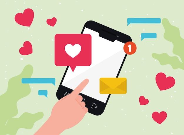 Смартфон с лайком и сердечками