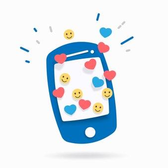 Смартфон со значками лайков и уведомлений