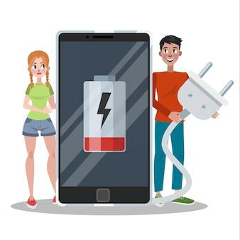 배터리 부족 표시기가있는 스마트 폰. 전화는 충전이 필요합니다. 디지털 디스플레이에 서명하십시오. 삽화