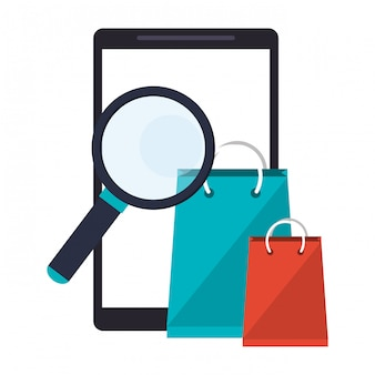Smartphone with magnifying glass and shopping bags