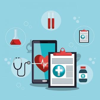 Смартфон с приложением медицинских услуг