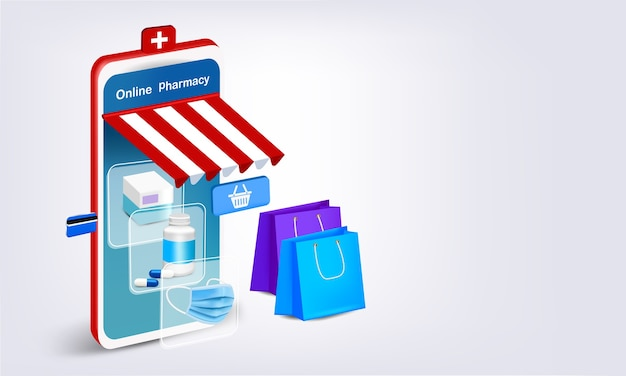 온라인 약국을위한 약과 마스크가있는 스마트 폰