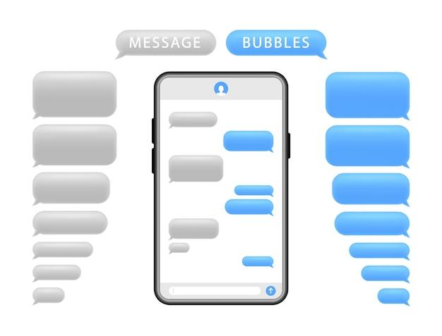 Смартфон с пузырями сообщений. экран телефонного чата и текстовые смс.