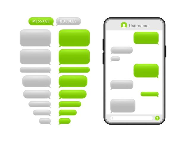 メッセージバブル付きのスマートフォン。チャット用の吹き出し。