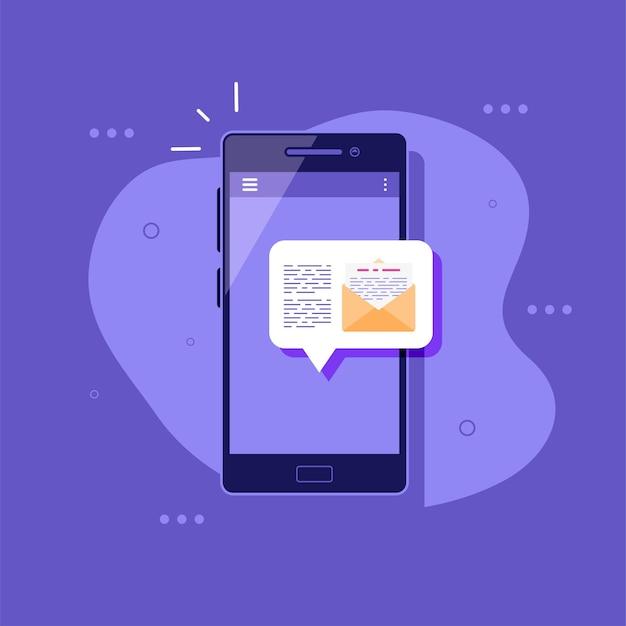Смартфон с уведомлением о сообщении концепция социальных сетей