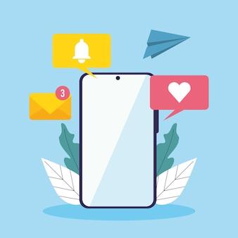 메시징 통신 아이콘이 있는 스마트폰