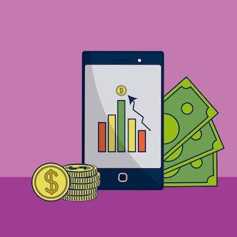 お金と統計量のイラストのグラフィックデザインとスマートフォン