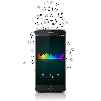 Smartphone with music notes.