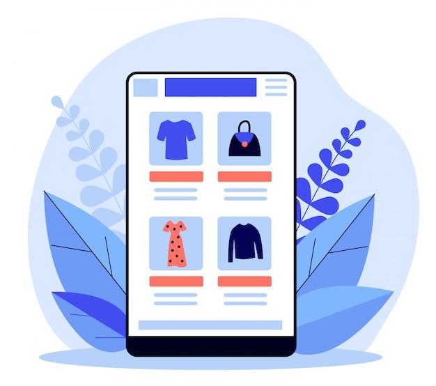 オンライン衣料品店アプリケーションを備えたスマートフォン