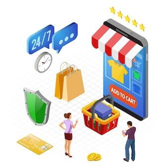 Смартфон с интернет-магазином, кредитной картой, покупателем. интернет-магазины и концепция электронных платежей в интернете. изометрические иконы. изолированные