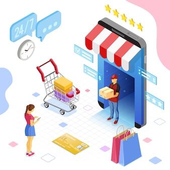온라인 상점, 배달, 신용 카드, 고객이 있는 스마트폰. 인터넷 쇼핑 및 온라인 전자 지불 개념입니다. 아이소메트릭 아이콘입니다. 고립 된 벡터 일러스트 레이 션