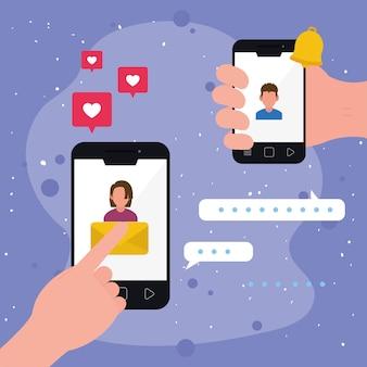 Смартфон с людьми разговор