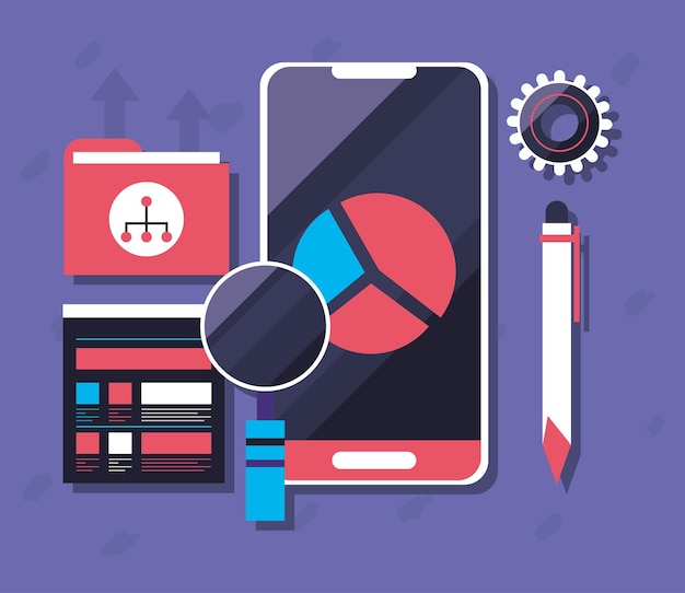 Smartphone with pie chart and loupe