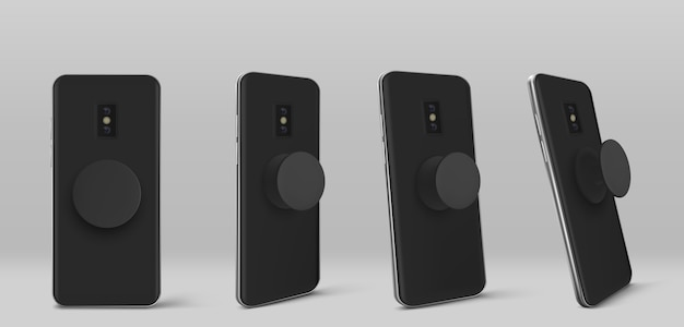 Smartphone with pop socket holder on back in different angles view. realistic template of black mobile phone with circle pop grip and stand isolated on grey background