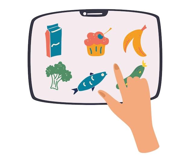 Смартфон с приложением для заказа продуктов на экране, рука держит планшет. человек, нажимающий на экран, чтобы доставить еду. мобильное приложение для заказа и доставки свежих продуктов. плоские векторные иллюстрации