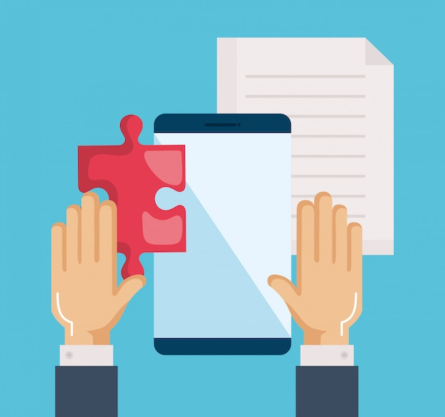 Smartphone with puzzle, document and hands