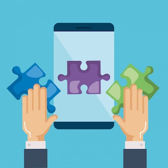 Smartphone with puzzle pieces and hands