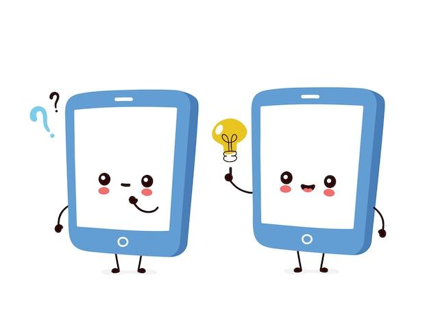 Смартфон с вопросительным знаком и лампочкой идеи Premium векторы