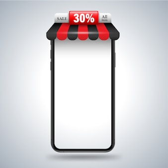 Smartphone with roof shop banner for promotion advertising