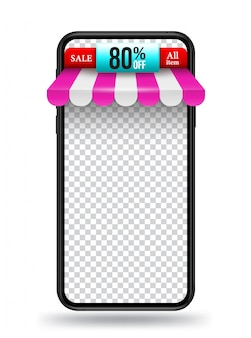 Smartphone with roof shop banner