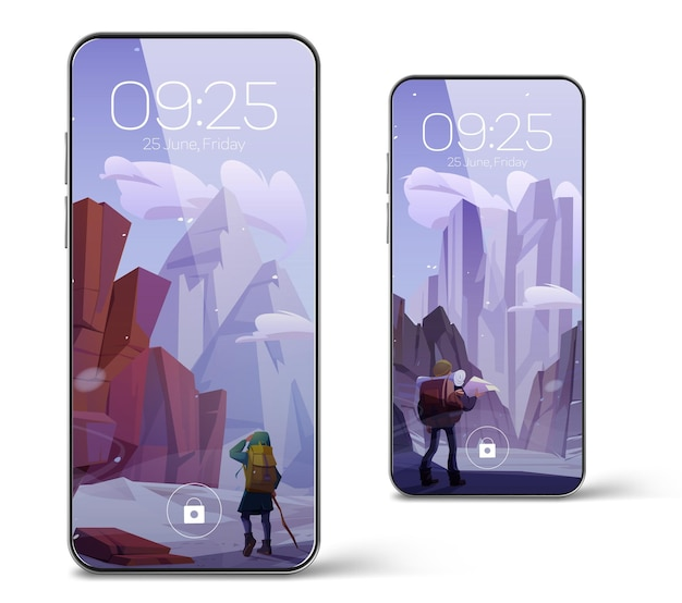 Smartphone with screensaver wallpaper with winter mountain landscape and hiker