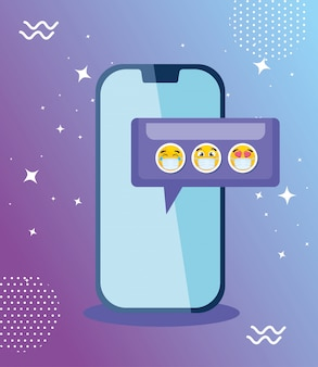 Smartphone with set emojis, yellow faces in speech bubble with smartphone device vector illustration design