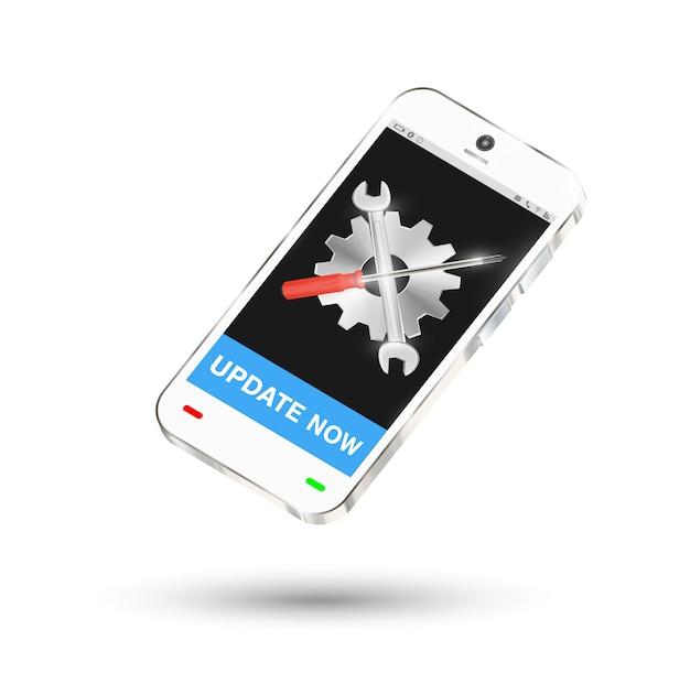 画面にロゴを設定して修理ボタンを備えたスマートフォン