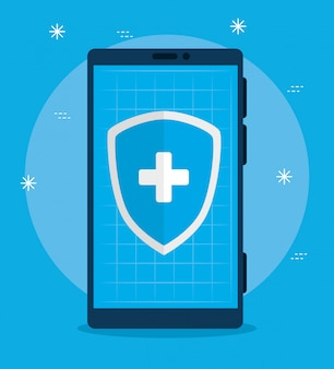 Smartphone with shield of app telemedicine technology