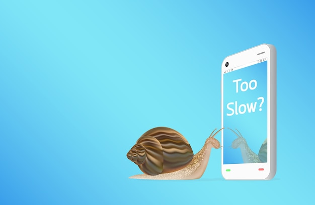 A smartphone with snail