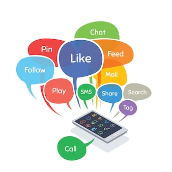 Smartphone with social media concept