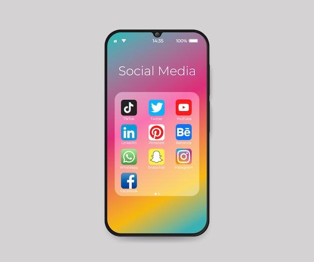 소셜 미디어 접기 아이콘이있는 스마트 폰
