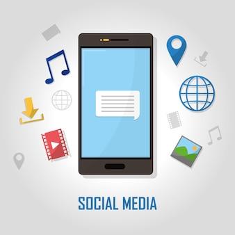 소셜 미디어 아이콘으로 스마트 폰