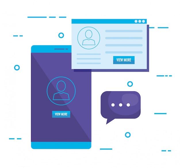 Смартфон с иконками маркетинга в социальных сетях