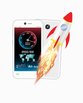 Smartphone with speed test meter and rocket