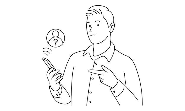 見知らぬ人の通話画面を備えたスマートフォン