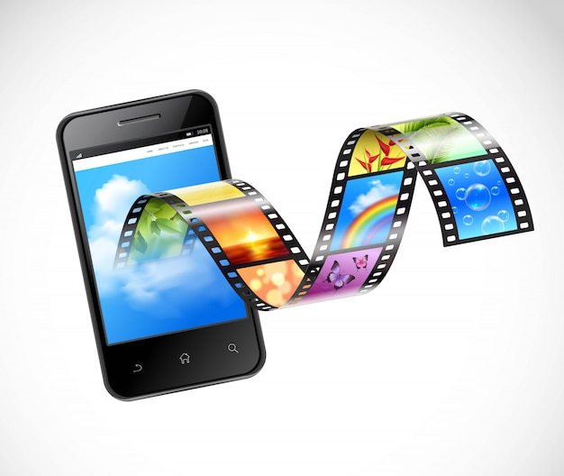 Smartphone with streaming video illustration