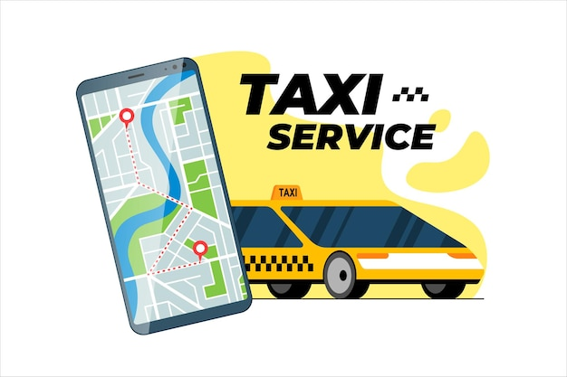 Smartphone with taxi transfer route and geotag gps location pin arrival address on map online cab